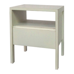Antique Revival - White Zen End Table - This zen-style cabinet has clean lines and offers easy multi-purpose uses. It includes a shelf and drawer for storage, plus a flat area on the top for displaying books, vases or framed photos. The clean, simple design blends easily into any room. Item is newly made.