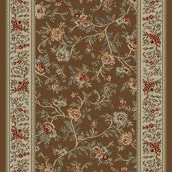 """Concord Global - Floral Garden Brown 7'10""""X10'10"""" Rectangle Woven RugAnkara Collection - The Ankara collection is made of heavy heat-set olefin and has the look and feel of an authentic hand made rug at a fraction of the cost. New additions to the line include transitional patterns that are up to date in the current fashion trend. Made in Turkey"""