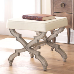 X-Base Stool, Cream - Inspired by 19th century European designs, these X-stools by Wisteria are a good mix of casual elegance with an antiqued finish and sophisticated lines.