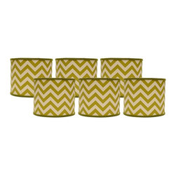 """Lamps Plus - Transitional Set of 6 Green Chevron Drum Lamp Shade 5x5x4.5 (Clip-On) - These itty-bitty drum lamp shades come in a set of six and feature a bright green chevron design. The clip-on fitter allows you to effortlessly incorporate these shades into your home and the chrome hardware provides just a hint of shine. A perfect accent to uplift a set of small table lamps. Set of 6. Drum lamp shade. Cotton exterior. Village green chevron print. Clip-on fitter. Recommended for use with 25 watt candelabra bulbs. Unlined. 5"""" across the top. 5"""" across the bottom. 4.5"""" high.  Set of 6.  Drum lamp shade.  Cotton exterior.  Village green chevron print.  Clip-on fitter.  Recommended for use with 25 watt candelabra bulbs.  Unlined.  5"""" across the top.  5"""" across the bottom.  4 1/2"""" high."""