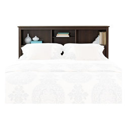 "Prepac - Prepac Manhattan Full / Queen Bookcase Headboard in Espresso Finish - Prepac - Headboards - ESH6643 - Providing both function and a refined style this attractive Manhattan headboard finished in a lovely dark wood color offers the convenience of two 11"" deep bookcases and an adjustable shelf central compartment. As visually appealing as it is practical the Manhattan will be a welcome and lasting addition to your bedroom."