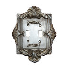 Hickory Manor House - Florentine Double Switch Plate in Gilt Silver - Vintage original. Custom made by artisans unfortunately no returns allowed. Enhance your decor with this graceful switch plate. Made in the USA. Made of pecan shell resin. Weight: 1 lb.