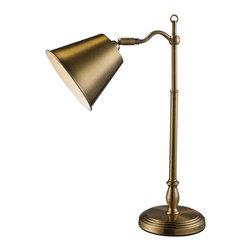 Dimond Lighting - Hamilton 1-Light Desk Lamp in Antique Brass - Dimond Lighting D1837 Hamilton 1-Light Desk Lamp in Antique Brass