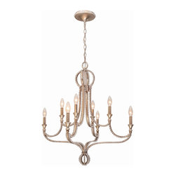 Crystorama - Crystorama 6768-DT Garland 8 Light Chandeliers in Distressed Twilight - Mixing metals is very hot in fashion right now, and we''ve done that in Garland by foiling silver over gold. This gives the collection an antique, yet contemporary feel and tremendous versatility to work in a variety of decors. The hand cut oval beads create a perfect marriage with the wrought iron frame which in turn dresses the frame from daytime to nighttime. The Distressed Twilight finish from Crystorama is a perfect blend of silver and gold.