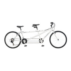 Pacific - Dualie Tandem Bike in Silver - Features: -Dualie bike.-Oversized steel tandem frame and rigid fork.-Sram MRX twist shifters change gears easily.-3 Piece crank offers wide gear range.-Alloy wheels are strong and light.-Linear pull breaks.-Distressed: No.Specifications: -21 Speeds with shimano rear derailleur for easy shifting.Dimensions: -97'' L x 24'' W x 46'' H.-Overall Height - Top to Bottom: 46.-Overall Width - Side to Side: 46.-Overall Depth - Front to Back: 97.-Overall Product Weight: 57.32 lbs.Assembly: -Features:.-Assembly required.