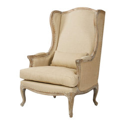Leon Chair - Delicately textured jute sides and back bring a sense of calming energy to the room that beholds this chair. With a natural hemp linen upholstery reminiscent of a sandy shoreline and sturdy limed gray oak, you cannot help but to be smitten. The Leon wingback chair is a lovely sight to behold, fit for the sanctuary of your dreams.