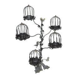 BrandWave - Cage T-Lite Holder, Iron - Artistic, yet whimsical, our birdcage t-lite holder adds a unique touch. With space for five different t-lite candles, you can illuminate any room in your home, indoor or outdoor. We have carefully placed hand-casted birds that adorn the collection.