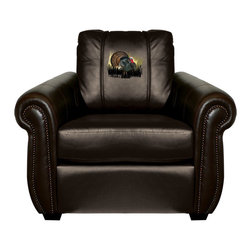 Dreamseat Inc. - Turkey Chesapeake Black Leather Arm Chair - Check out this Awesome Arm Chair. It's the ultimate in traditional styled home leather furniture, and it's one of the coolest things we've ever seen. This is unbelievably comfortable - once you're in it, you won't want to get up. Features a zip-in-zip-out logo panel embroidered with 70,000 stitches. Converts from a solid color to custom-logo furniture in seconds - perfect for a shared or multi-purpose room. Root for several teams? Simply swap the panels out when the seasons change. This is a true statement piece that is perfect for your Man Cave, Game Room, basement or garage.