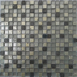 """GL Stone - Random Silver stone & Forested Glass Mosaic Tile, 1""""x1""""  1 Carton ( 11 Sheets ) - This mosaic tile contains porcelain and glass material, which is the great design for the interior decor. Forested finished glass mix silver porcelain create an unique mosaic tile.  Each piece fits into the next like a perfect puzzle. This mosaic tile will bring warmth and a natural ambiance to your home. It also looks great in large spaces or smaller areas like a kitchen backsplash, bathroom wall, etc."""