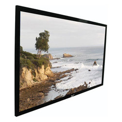 """Elitescreens - 110"""" 16.9 Fixed Screen - Sable Frame Series Home Theater Fixed frame screen is designed for today's 720P and 1080P Home Cinema projectors Highly versatile CineWhite Gain 1.1 flat tensioned screen material Standard black backed screen material eliminates light penetration Black velvet surfaced covered 2.36"""" aluminum frame enhances overall appearance and absorbs projector light overshoot Easy to assemble and install in minutes Adjustable fix plates provide equal tension over the entire projection surface Sliding wall mounts ensure the installation is properly centered Available diagonal sizes in 16:9 HDTV format."""