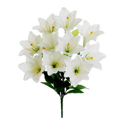 Silk Plants Direct - Silk Plants Direct Easter Lily Bush (Pack of 12) - Pack of 12. Silk Plants Direct specializes in manufacturing, design and supply of the most life-like, premium quality artificial plants, trees, flowers, arrangements, topiaries and containers for home, office and commercial use. Our Easter Lily Bush includes the following: