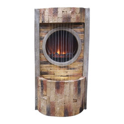 Alpine - Fire Fountain with LED Lights and Round Fire Box - 16 inch - These fiberglass fountains have the look of natural, gray stone in a classical design. Multiples streams of water flow, and the fireplace below, create a relaxing and meditative atmosphere. They can be placed indoors or out.Features: