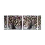 Pure Art - Spattered Leaves Tree Wall Art Set of 6 - Realism and abstract art come together in this unique artwork, depicting a trio of trees. The trunks are rendered in a realistic fashion and in a deep shade of gray, suggesting early morning or late day. The leaves, however, are given a more contemporary treatment, and are depicted as scattered blotches of red, black and yellow. The silvery backdrop brings details into focus.Made with top grade aluminum material and handcrafted with the use of special colors, it is a very appealing piece that sticks out with its genuine glow. Easy to hang and clean.