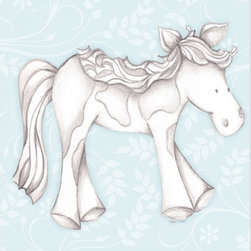"Doodlefish - Princess Pony Blue - Princess Pony is an 18"" x 18"" Gallery Wrapped Giclee Print that features a mix of graphical elements and a drawing of a pretty pony with a curly mane and tail.  Choose the background color and the background pattern to match your child's room,  Add your child's name or even your favorite pet.  This artwork is also available mounted in a painted frame of your choice.    The finished size of the mounted piece is approximately 22""x22""."