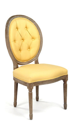 Kathy Kuo Home - Pair Madeleine Oval Tufted Yellow Linen Limed Oak Dining Side Chair - Brighten your room and outlook with this sunny yellow linen tufted oak chair. A limed grey finish details the intricate woodwork on the legs and frame. The luxuriously cushioned back invites guests to relax and enjoy their stylish surroundings.