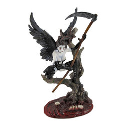 Gothic Dark Angel Warror with Scythe After Battle - This dark angel of death rests on a gnarled tree branch with her scythe above a pool of blood, littered with the skeletal remains of her slain foes. Made of cold cast resin, this statue measures 9 1/2 inches tall, 5 1/2 inches long, 4 inches wide and has a matte finish that makes it look like porcelain. The bottom of the base is lined with felt to prevent it from scratching delicate surfaces, so you can display it anywhere in your home. It is accented by the glossy patent leather attire of the angel, as well as a shiny pool beneath the tree, and is delightfully detailed. This piece is an excellent addition to Gothic art collections, and is sure to be admired.