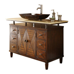 "Benton Collection - 48"" Onyx Counter Top Verdana Vessel Sink Bathroom Vanity Q136-8X - This 48"" vessel sinks Verdana Sink Cabinet which is the sleekest, the most colorful and the most impressive among the entire collection of vanities we carry. It sole purpose is to complement many of today's modern bathroom decors. This bathroom vanity features durable wood construction with a honey color onyx counter top."