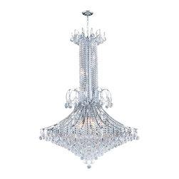 "Worldwide Lighting - Worldwide Lighting W83051C35 Empire 16 Light 1 Tier 35"" Chrome Chandelier - Specifications:"