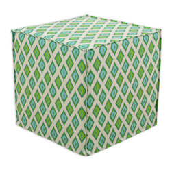 """Chooty - Chooty Carnival Grasshopper Collection 17"""" Square Seamed Foam Ottoman - Insert 100 High Density Foam, Fabric Content 100 Cotton, Color Cream, Blue, Green, Hassock 1"""