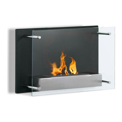 Moda Flame - Epila Wall Mounted Ethanol Fireplace - Epila contemporary fireplace offers a decorative black steel backdrop with a elusive glass front. The Epila ethanol fireplace casts a stylish yet sleek element to any room. It's the perfect modern alternative to keeping your home warm with a ventless, environmentally friendly system.
