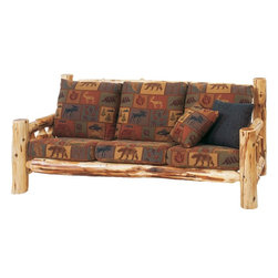 Fireside Lodge Furniture - Cedar 7 ft. Log Sofa w Cushions (Great Outdoo - Fabric: Great Outdoors MeadowCedar Collection. Includes 3 seat cushions and 2 pillows. Cushion is a high-density foam with Dacron wra for lasting comfort. Back cushion is an over-stuffed poly foam pillow. Full log back. Northern White Cedar logs are hand peeled to accentuate their natural character and beauty. Individually hand crafted. Clear coat catalyzed lacquer finish for extra durability. 2-Year limited warranty. 84 in. W x 38 in. D x 36 in. H (160 lbs.)