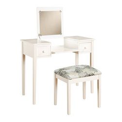 Linon - Linon Vanity Set with White Butterfly Bench in White - Linon - Kids Vanities - 98135WHTX01KDU - Enjoy some much needed personal grooming space with this attractive White vanity and stool set._� The vanity features a flip top mirror with a safety stay hinge and generously sized drawers. The spacious table top has room for an array of cosmetics jewelry and beauty supplies. The vanity is complimented by a thickly padded and upholstered stool._� Ideal for teens and adults. _�Pre-drilled wire management access hole in rear of vanity._� Flip down front panel for easy access to your possessions._� Some assembly required._�