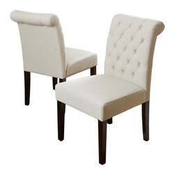 Great Deal Furniture - Elmerson Roll Back Dining Chair Ivory, Set of 2 - Dual citizenship: While these are most definitely your favorite dining room chairs, they sometimes take up residence in your living room or bedroom as comfy and chic accent chairs. And because they can work well in any location, there's no reason to impose undue restrictions on them.