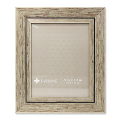 Lawrence Frames - 8x10 Weathered Natural Decorative Picture Frame - Gorgeous wide weathered natural composite picture frame.  Beautiful casual textured finish that will be a great decorative addition to any room.  Comes with a two way easel for vertical or horizontal table top display, and hangers for vertical or horizontal wall mounting.  High quality black velvet backing.  Picture frame comes with glass to protect your photo, and is individually boxed.