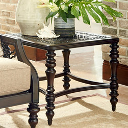 Frontgate - Tommy Bahama Black Sands Square Outdoor End Table, Patio Furniture - Crafted of durable cast aluminum. Hand-finished in deep umber with soft gold undertones. Traditionally turned legs. Intricate scroll pattern. Elegance and grace will fill your outdoor living space with the addition of the stunning and versatile Black Sands Square End Table by Tommy Bahama. The casual aesthetic of new traditional styling is showcased in custom cast aluminum designs, featuring remarkable hand craftsmanship and exceptional finishes.  .  .  .  .