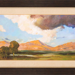 Paragon Decor - Lakeside Artwork - Mountainous landscape in matted in a suede beige mat and framed in dark wood finish molding.