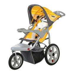 """InSTEP - Grand Safari Swivel Wheel Single Stroller - Features: -Swivel wheel stroller.-Molded parent tray two cup holders.-Dual trigger folding mechanism.-Slip resistant handle grip.-Pivoting molded child tray with two cup holders.-Built in MP3 speaker keeps child entertained.-Exposed spring suspension provides added comfort.-Collection: Grand Safari.-Distressed: No.Dimensions: -12"""" front tires and 16"""" rear tires.-Overall Height - Top to Bottom: 42.2"""".-Overall Width - Side to Side: 22.5"""".-Overall Depth - Front to Back: 52"""".-Overall Product Weight: 38 lbs."""