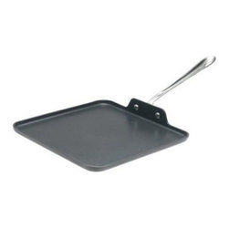 All Clad 11-in. Square Griddle Non Stick - Homestyle country breakfasts are back on the DIY menu with the All-Clad 11-in. Square Griddle Non Stick. A must-have pan for hearty weekend breakfasts with visiting friends or family, this hard-anodized aluminum griddle features a large cooking surface with an easy-release nonstick coating. Its square shape can hold an abundance of foods for sauteing or omelet making. The long ergonomic handle is riveted stainless steel, a perfect design for hardy performance and carrying heavy meals from stove to dining table or breakfast bar. Compatible with gas and electric stovetops and oven safe to 450°F, this nonstick griddle comes with a limited lifetime warranty from All-Clad.About All-CladFounded in 1971 in Canonsburg, Pennsylvania, All-Clad Metalcrafters produces the world's finest cookware in its Southwestern Pennsylvania rolling mill, using the same revolutionary processes that they introduced forty years ago. Today, All-Clad is the only bonded cookware that's handcrafted by American craftsmen using American-made metals. Originally founded to meet the highest standards of professional chefs, All-Clad has become the premier choice of cookware enthusiasts of all experience levels, from world-class chefs to passionate home cooks in everyday American kitchens.The unsurpassed quality and performance of All-Clad cookware is derived from its innovative roll bonding process, which uses a proprietary recipe of metals. Cladding is applied not just to the bottom, but also up the sides of each All-Clad cooking vessel, providing outstanding heat distribution and reliable cooking results. All-Clad cookware is hand-inspected at every stage of the manufacturing process and is famous for the uncompromising quality that's evident in every detail, from its impeccable balance in your hand to its meticulous hand-finishing.