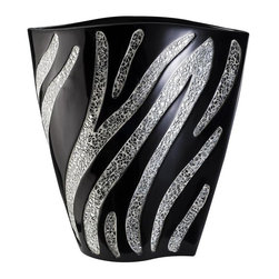None - Zebra Decorative Vase - Add style to your home decor with this fancy zebra vase. This beautiful decorative vase,designed by Judy Sha,includes a glass mosaic zebra print with a black lacquer finish.