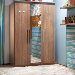 Modern Wood - Three-door wardrobe featuring a mirror and aluminum handles has a spacious interior, drawers and a coat rack. Motion-sensitive LED lighting and different size compartments make this one functional piece.