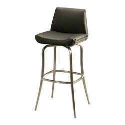 """Pastel Furniture - Degorah Swivel Barstool - This handsomely crafted swivel stainless steel barstool features a quality metal frame with sturdy legs and foot rest. The padded seat is upholstered in PU ivory offering comfort and style. Available in 26"""" counter height or 30"""" bar height."""