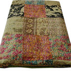 Indian Kantha Quilt - Lime/Multi - Gorgeous patchwork bedspread. Hand stitched in the Kantha style to create a stunning texture and appearance. This pretty bedspread with its vintage floral patchwork design is lined with a plain coordinating fabric. Because each one of these striking bedcovers is lovingly handcrafted every one is unique. Items of this quality are not easily available.  100% Cotton
