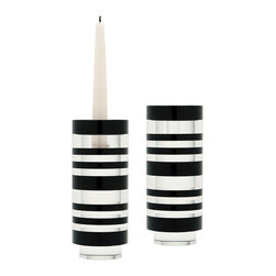 Lazy Susan - Sliced Tuxedo Crystal Candleholders, Set of 2 - Sliced Tuxedo Crystal Small Candleholders, Set of 2