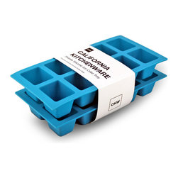 California Kitchenware - Shasta Silicone Ice Cube Trays, Set of 2 - Sold in a set of two, these California Kitchenware Shasta silicone ice cube trays create amazing cubes for any occasion.  Each large cube is easy to remove and the trays are dishwasher safe.  Freeze water, juice or baby food, or even use them to mold candy or fudge.  Create popsicles in the summertime or use them to chill whiskey for a winter drink.  Freeze fruit inside of each cube for a fun treat.