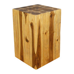 Kammika - Block Hollow Teak Wood End Table 12x12x18 inch H - Eco Friendly Livos Walnut Oil - Our Block Hollow Farmed Teak Sustainable Wood End Table 12 inch square x 18 inch height with eco friendly, natural Livos Walnut Oil Finish is made to look like a block of squares, but is easily transported, as inside is hollow. On the ends is a collage of tree rings from each branch that is squared to make this visually stunning block of Farmed Teak Wood.