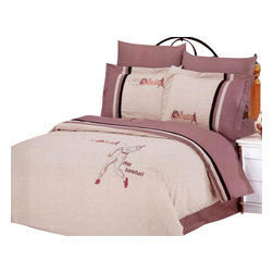 Le Vele - 6 Pc Queen Baseball Duvet Cover Bedding Set - Includes one flat bed sheet, one duvet cover, two pillow cases and two flanged pillow cases. 205 thread count. Imported. Machine washable. Tumble dry. Elegance of embroidery with this ensemble with baseball players embroidered on a gray-sand backdrop. Reverses to a solid mauve-sand. Snap at the foot of the duvet make it easy to insert a comforter. Oversized flat sheet provides versatility. Tucked in or can hang over eliminating the need for a bed skirt. High quality cotton fabric and superior workmanship with fine yarns of satin weaving for wrinkle control. Printed with the latest reactive dyeing technology. Excellent brightness and long lasting colors. Sheets feel soft and inviting. Made from cotton. Flat Bed Sheet: 102 in. L x 94 in. W. Duvet Cover: 87 in. L x 80 in. W. Pillow Cases: 30 in. L x 20 in. W. Flanged Pillow Cases: 30-32 in. L x 20 in. W