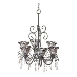 "Midnight Blooms Chandeliers - Chandelier - Light your living space with the mysterious alluring glow of twilight night after night with this fetching chandelier.  It features six smoky flower candle cups, black metal scroll work flourishes, and faceted crystals that capture the light.  Candles not included.  12.50"" long hook and chain included."