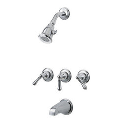 Pfister - Pfister 001-81BC Polished Chrome 01 Series 01 Series Triple Handle Tub - 01 Series Triple Handle Tub and Shower Trim PackageTrim package for tub and shower applications (Valve sold separately)Includes single function shower headIncludes shower arm and shower arm wall flangeIncludes 3 metal lever handlesIncludes non-diverter tub spout (3rd handle is diverter)All brass construction - Weight: 3.73 LBSADA CompliantShower head flow rate: 2 gallons-per-minuteDesigned for use with standard US plumbing connectionsAll necessary mounting hardware included (Does not include valve)Fully covered under Pfister s Pforever Lifetime WarrantyAbout PfisterFounded in 1910, Pfister (previously known as Price Pfister) is one of America's oldest and most experienced plumbing companies. As the first faucet manufacturer in the world to offer a lifetime warranty on their products, quality has always been the cornerstone of Pfister faucets. Brass bodies, ceramic disc valves, and lifetime PVD finishes name a few of the features you'll find in their product line. You will also find innovative designs. In the last 100 years, Pfister pioneered many of the faucet varieties that have helped to define the industry today. This kind of market presence has made Pfister one of the most trusted names in plumbing. Buy Pfister – you won't be disappointed.