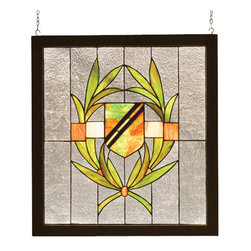 """Meyda - 24""""W X 26""""H Revival Shield Wood Frame Stained Glass Window - This handsome shield pattern of avocado green,burgundy, and honey adorn a clear seedy glass window.the window is handcrafted utilizing the copperfoilconstruction process and stained art glass encased in awood frame. Mounting bracket and chain are included."""