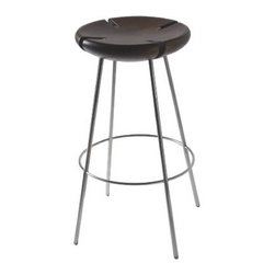 Tribo Barstool by Ilse Lang - These striking bar stools combine wood and steel to form a simple sculptural piece that will fit right under any bar with South American style. The notches even make them stackable, if need be.