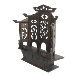 Golden Lotus - Chinese Antique Flower Vase Carving Mini Buddha Display Cabinet - Look at this Chinese antique min cabinet which is made of elm wood.  It was used for Buddha display.  Its back comes with curve shape carving design on it.  It should be elegant to put the top of altar table.
