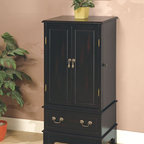 Coaster - Black Transitional Jewelry Armoire - Add some style to your jewelry collection with this black jewelry armoire. It features storage for rings, necklaces and more. Simple assembly is required.
