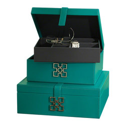 Global Views - Aarhus Box - Turquoise - Small - Faux leather box with a decorative metal handle.  Wonderful box that come in two sizes and various colors.