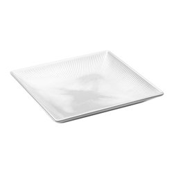 EGS - Display White Sunburst 11 Sq x 1 3/4 H Square Textured Tray - Case of 6 - DescriptionsThis collections subtle texture is reminiscent of warm sunrays bursting through pillowed clouds on a summers day. Sunburst is sure to brighten your most flavorful fare