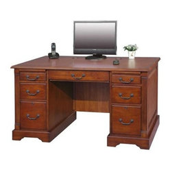 Winners Only - Country Flat Top Desk - Seven drawers. Cherry finish. No assembly required. 57 in. W x 29 in. D x 30.5 in. H