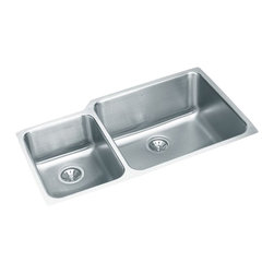 "Elkay - Elkay ELUH3520L  Gourmet Undermount Sink - Elkay's ELUH3520L is a Gourmet Undermount Sink. This dual-bowl sink is constructed of 18-gauge type 304 nickel bearing stainless steel, and can be mounted under almost any surface. It features a 9-7/8"" large bowl depth, a 7-7/8"" small bowl depth, and two 3-1/2"" drain openings."